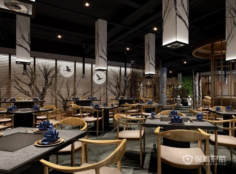 日式混搭中国风餐厅装修效果图
