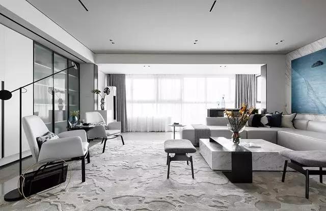 128㎡灰蓝搭配的空间艺术设计,这样装修充满了高级感!