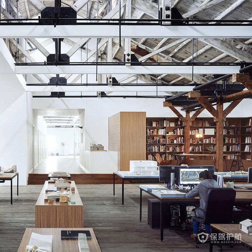 创意复古风办公室办公区装修效果图