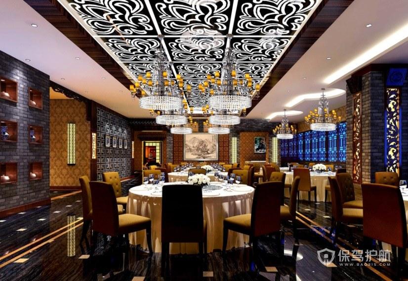 新中式创意餐厅装修效果图