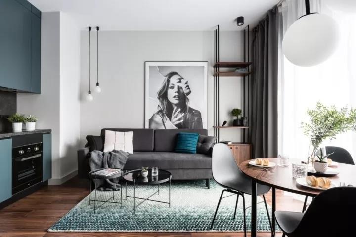 森林绿现代风格一居室装修效果图