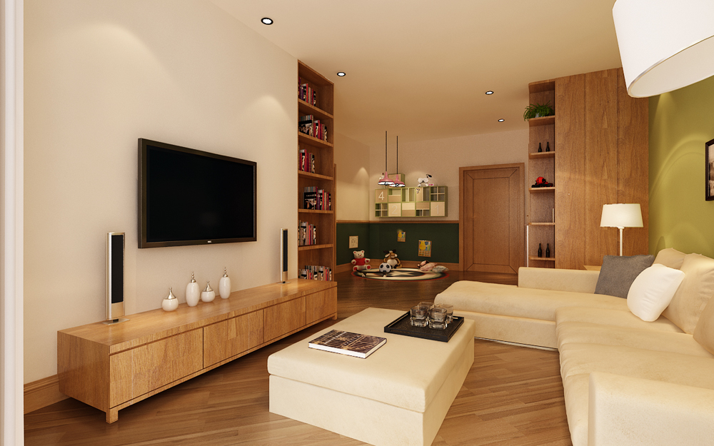 抹茶绿现代风格二居室装修效果图
