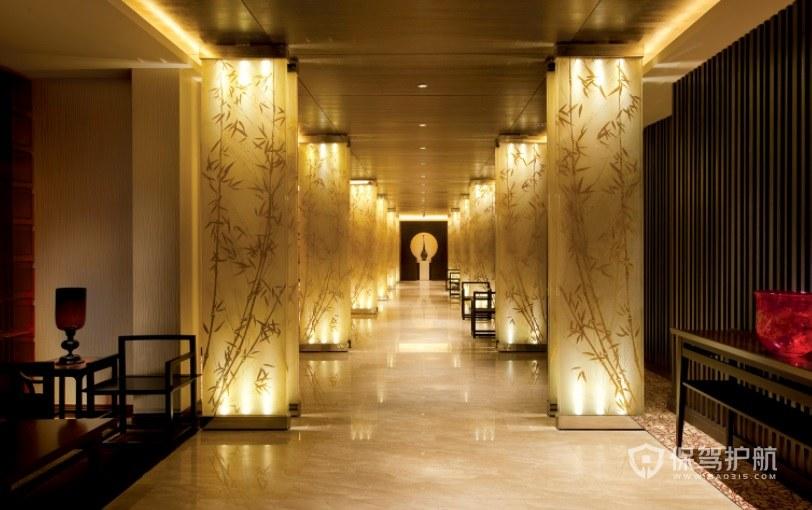 中式古典饭店走廊装修效果图
