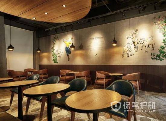 日式风格咖啡店墙面装饰效果图