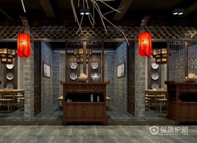 仿中式简朴餐厅装修效果图