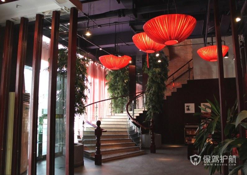 中式复古餐厅前台装修效果图