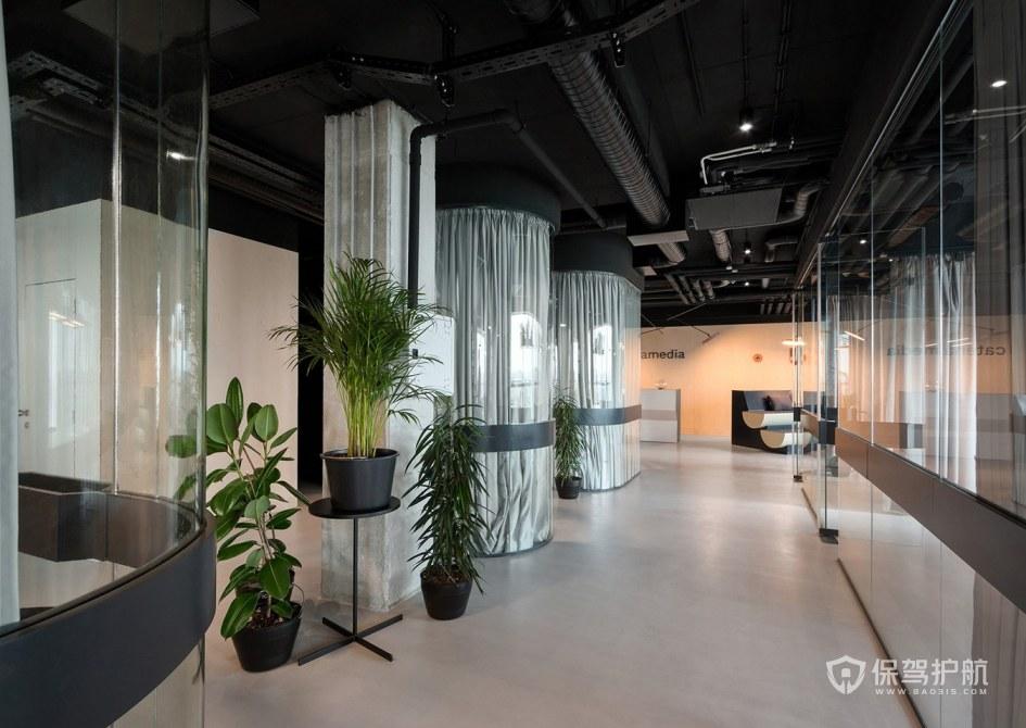 时尚简欧办公室走廊装修效果图
