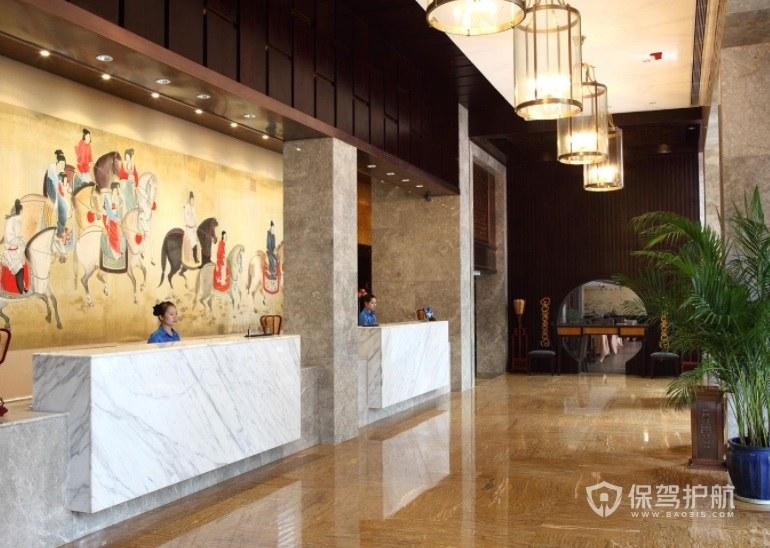 酒店餐厅前台现代中式装修效果图