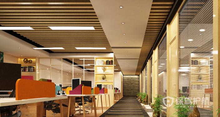 中式办公室办公区装修效果图