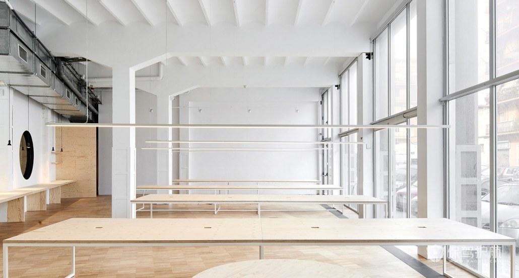 日式原木办公室办公区装修效果图
