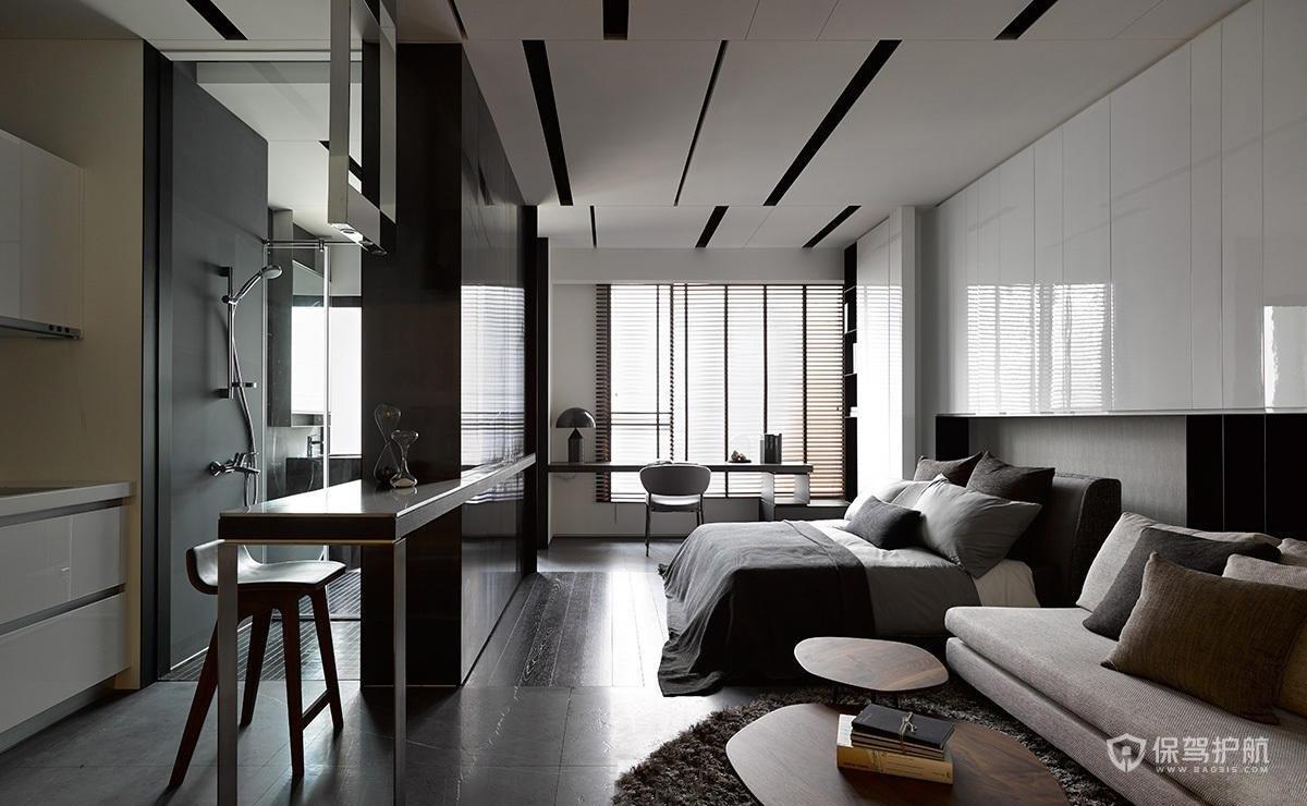 现代简约风单身公寓装修效果图-保驾护航装修网