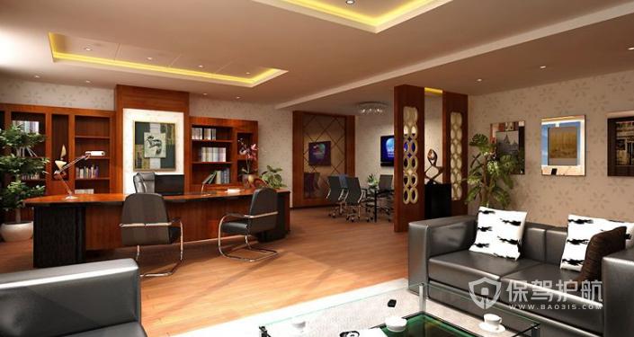 中式总裁办公室装修效果图