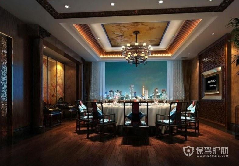 复古中式迷人夜景餐厅装修效果图