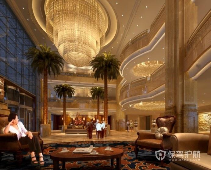 欧式豪华酒店大堂装修效果图