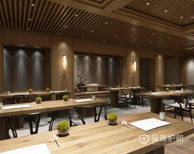 日式简约原木风餐厅装修效果图