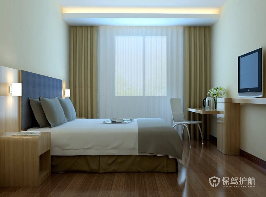现代简约酒店房间装修效果图