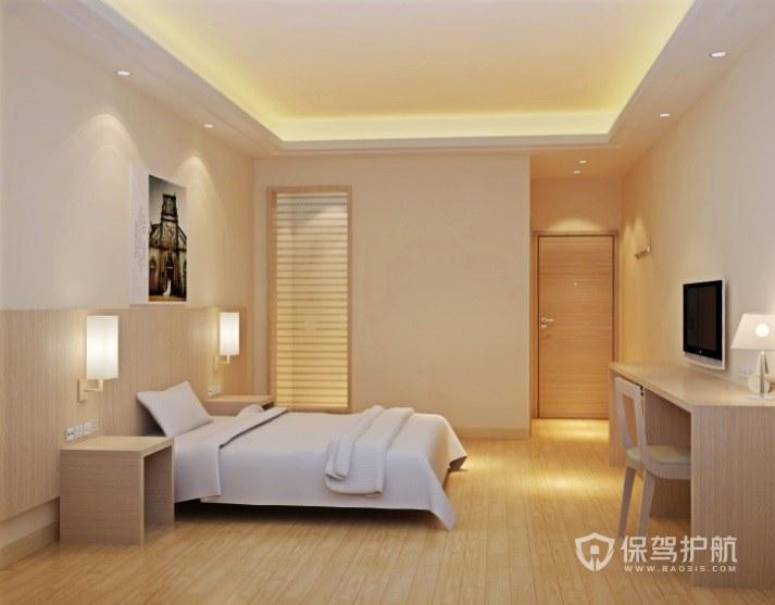 日式原木风酒店房间装修效果图
