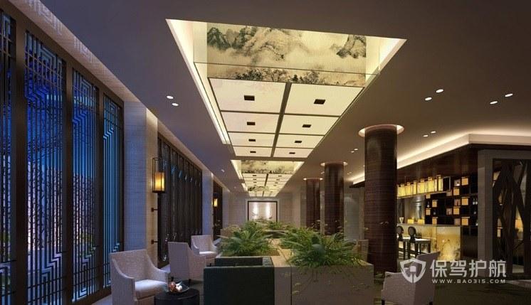 现代中式酒店接待区装修效果图