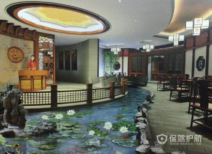环境优美中式餐厅装修效果图