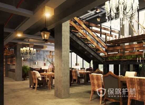 复古风格咖啡厅吊顶装修效果图