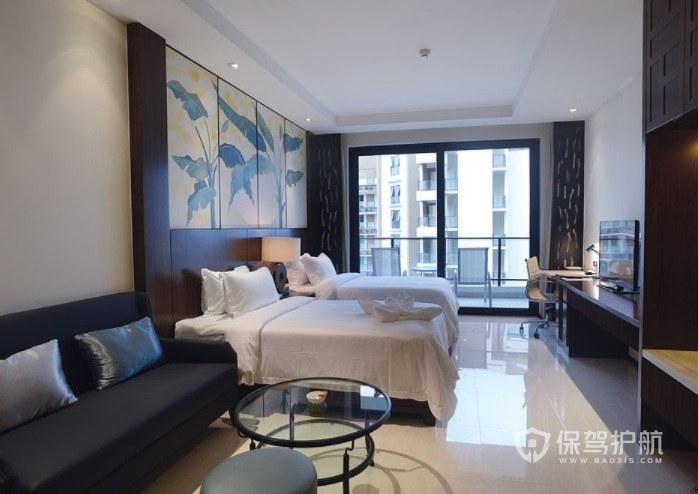 中式典雅双人房酒店房间装修效果图
