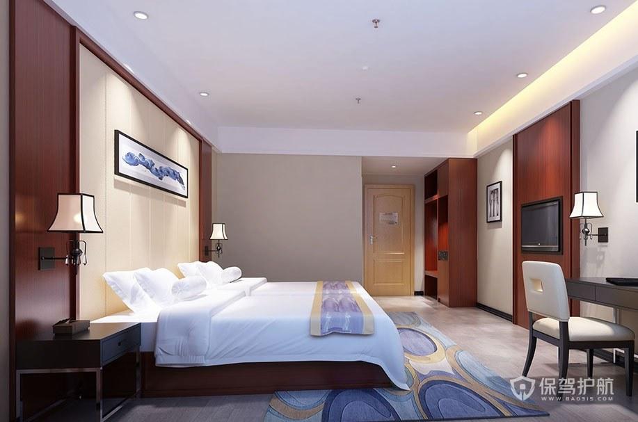 中式簡約酒店房間裝修效果圖