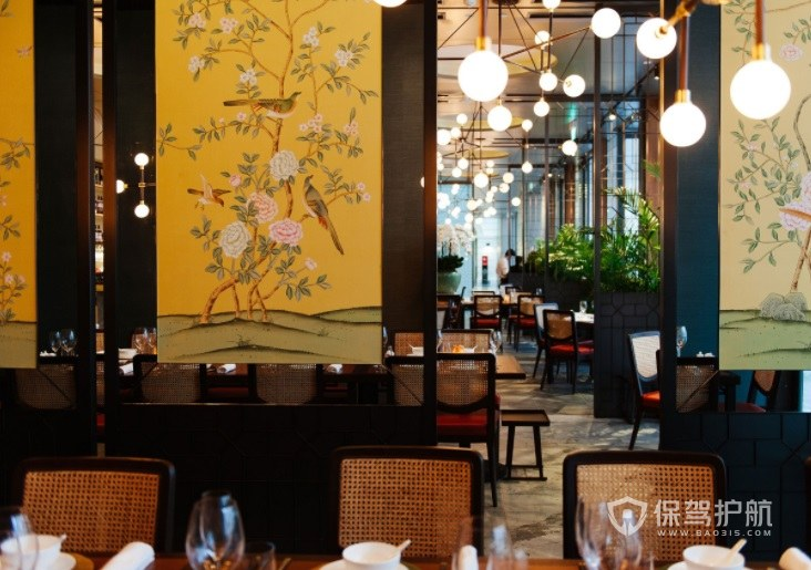 日式中国风休闲餐厅装修效果图