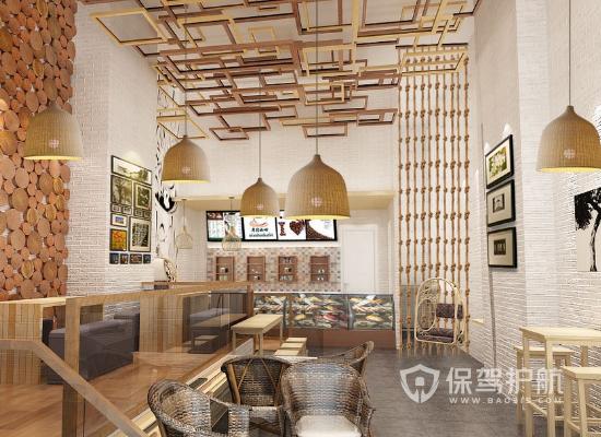 简约风格咖啡厅吊顶装修效果图