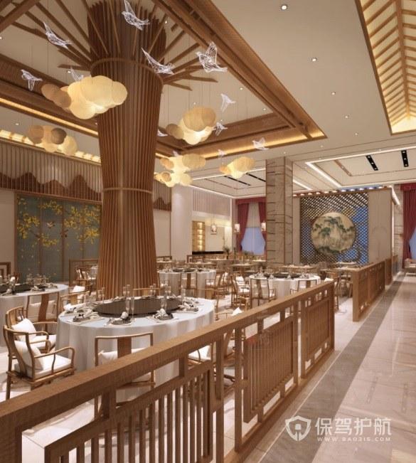 新古典创意中式餐厅装修效果图