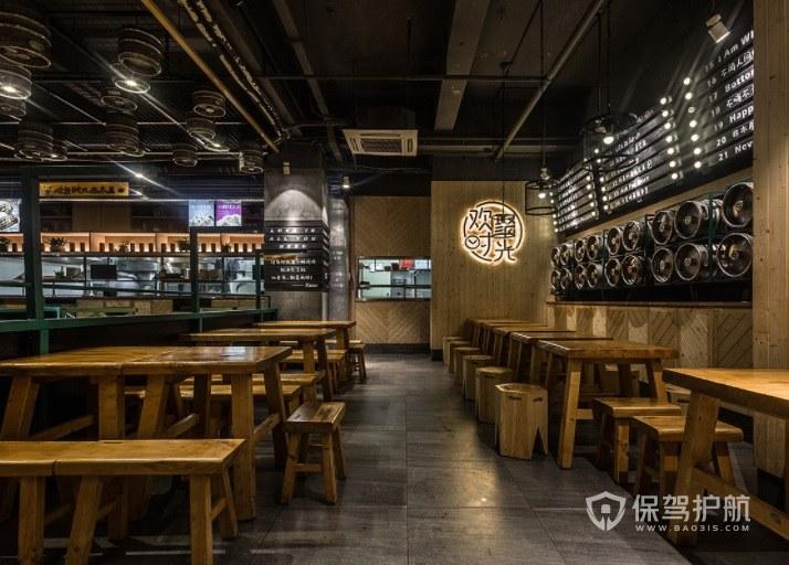 日式原木风餐厅装修效果图