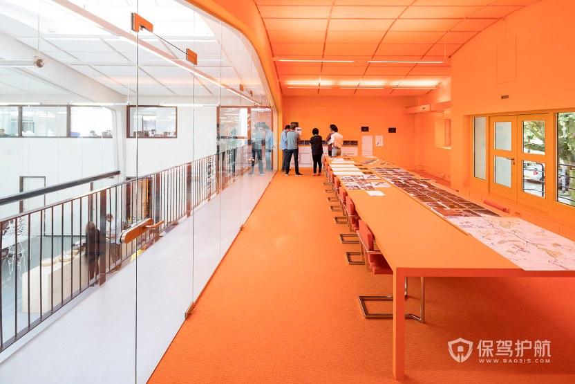 橙色时尚办公会议室装修效果图