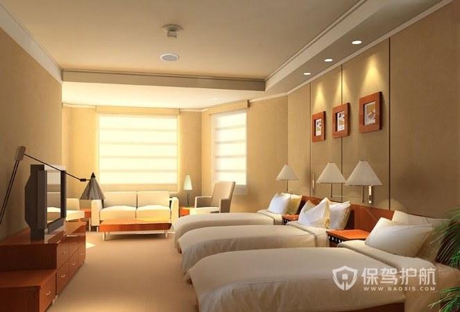 現代簡約酒店雙人臥室裝修效果圖