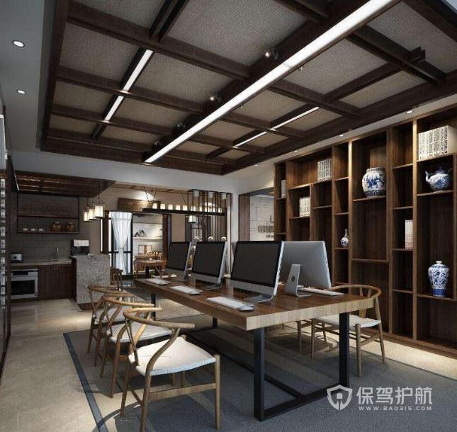 新中式风格办公室办公区装修效果图