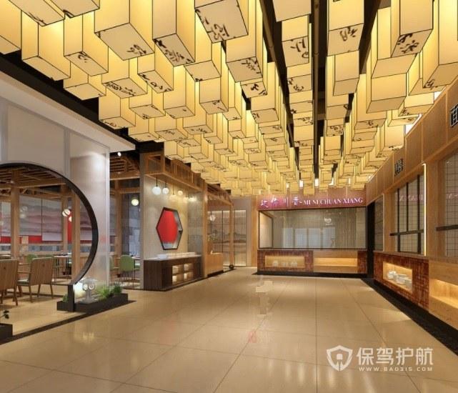中式復古輕奢商場餐廳裝修效果圖