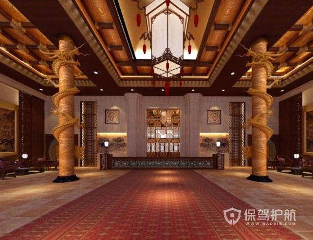 中式宫廷式酒店大堂装修效果图
