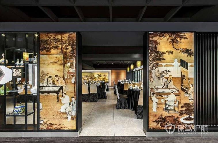 中式古典餐廳門面裝修效果圖