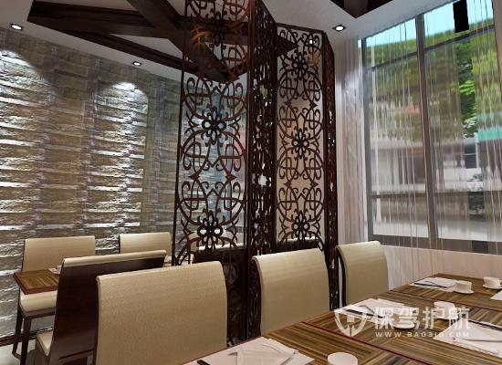 中式风格快餐店屏风装修效果图