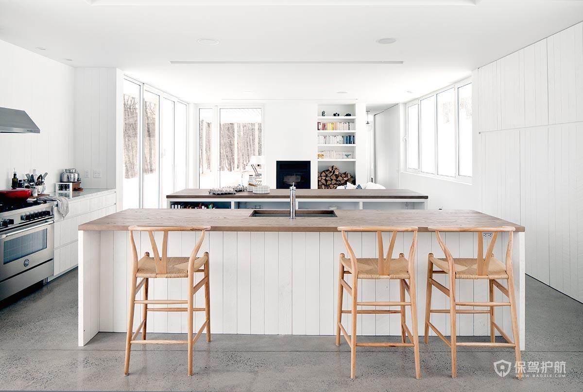 白色北欧风开放式厨房装修效果图-保驾护航装修网