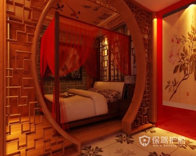 中式古风浪漫酒店房间装修效果图
