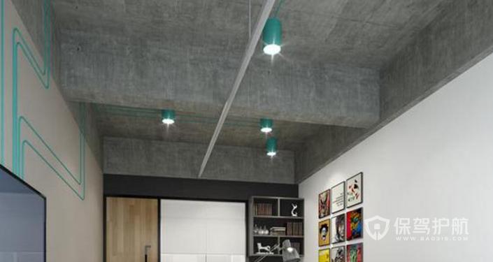 现代办公室水泥吊顶装修效果图