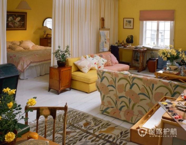 现代田园风酒店房间装修效果图