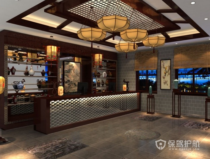 中式古典餐厅收银台装修效果图