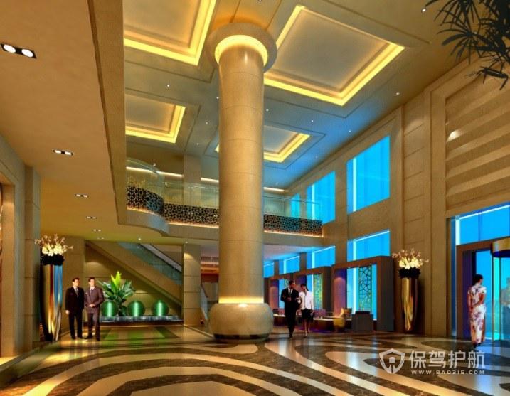 美式简约酒店大厅装修效果图