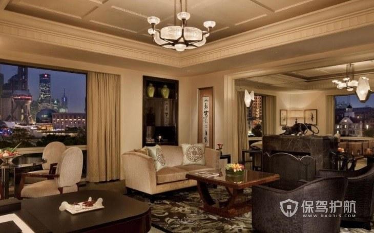 新中式典雅酒店房间装修效果图