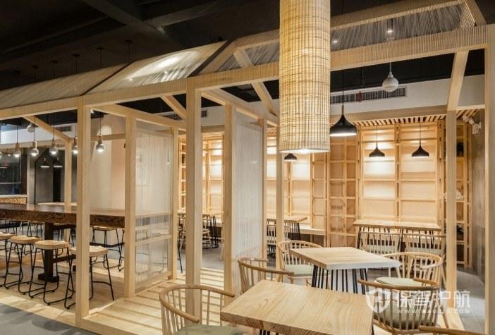 日式原木小餐厅装修效果图