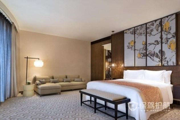 日式简约淡雅酒店房间装修效果图