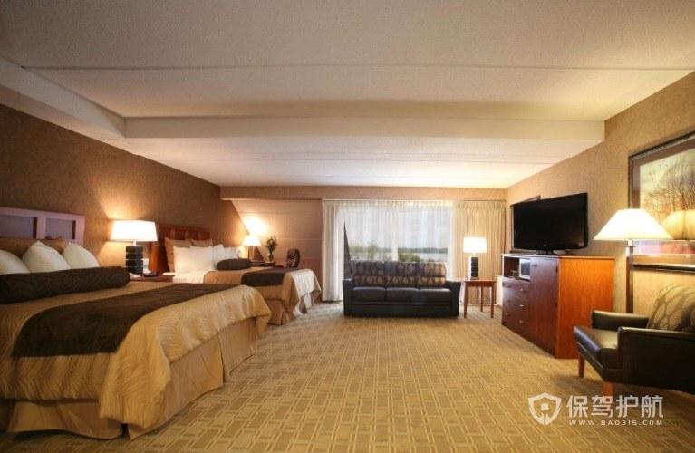 欧式豪华温馨酒店双人房装修效果图