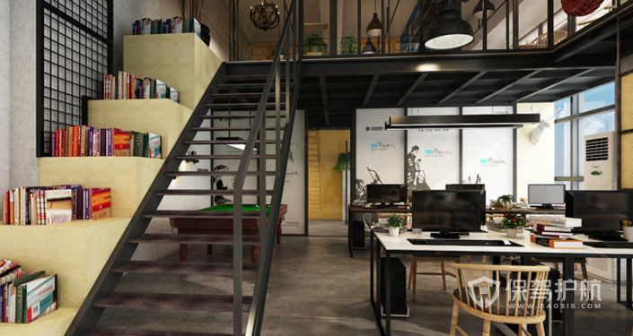 loft办公室楼梯装修效果图