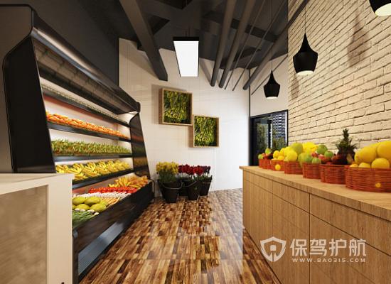 现代风格水果店过道装修效果图