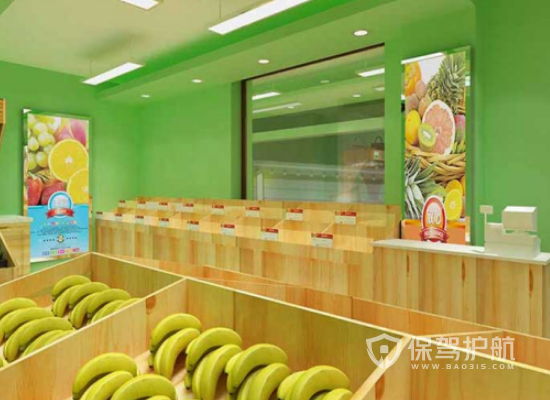 田园风格水果店背景墙装修效果图